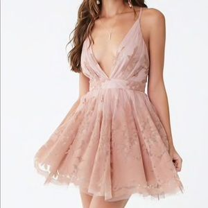 Plunging Floral Tulle Dress